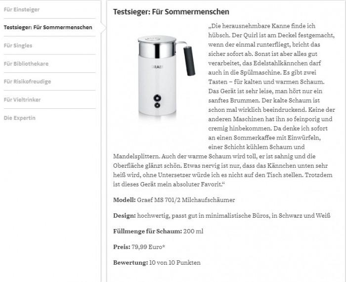 GRAEF MS 701-702 tejhabosító Suddeutsche Zeitung Magazin teszt